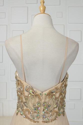 A Linie Natürliche Taille Ärmellos Bördeln Glänzendes Abendkleid - Seite 5