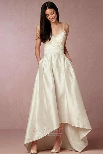 Natürliche Taille Ärmellos V-Ausschnitt Taft Schöne Hochzeitskleid - Seite 1