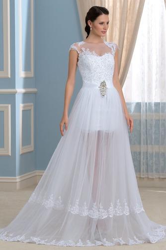 Vorderer Schlitz Satiniert Sommer Brautkleid mit kurzen Ärmeln - Seite 3