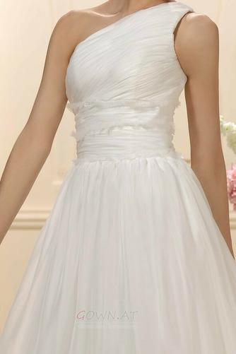 Natürliche Taille Eine Schulter Gefaltete Mieder Drapiert Brautkleid - Seite 4
