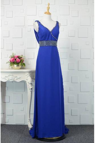 V-Ausschnitt Natürliche Taille Übergröße Perlengürtel Blaue Abendkleid - Seite 2