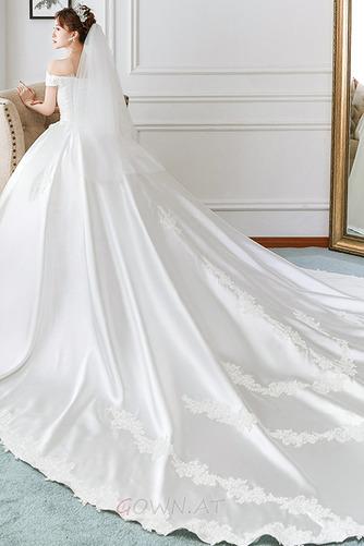 Kurze Ärmel Formalen Spitzenüberlagerung Natürliche Taille Spitze Brautkleid - Seite 3