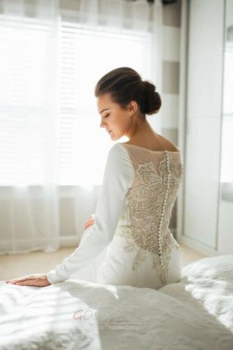 Fegen zug Trichter Perlengürtel T Hemd Tau Schulter Brautkleid - Seite 4