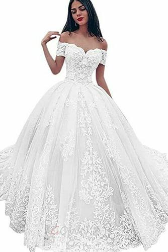 Kathedrale Zug Jahrgang Tau Schulter Brautkleid mit kurzen Ärmeln - Seite 3