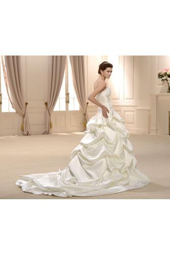 Frühling Ärmellos Spitzenüberlagerung Lange Natürliche Taille Hochzeitskleid - Seite 3