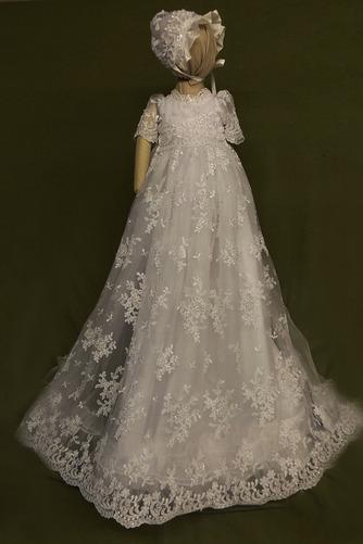 Spitze Hoch bedeckt Illusionshülsen Lange Blumenmädchen kleid - Seite 1
