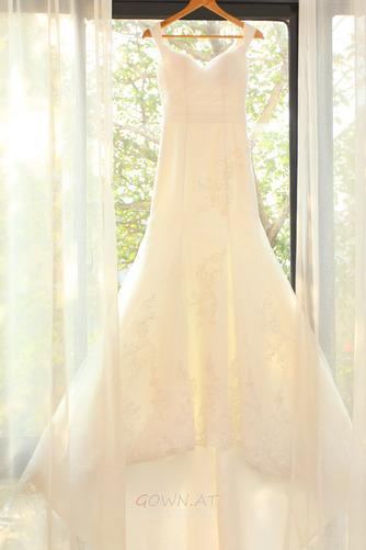 Lange Zierlich Natürliche Taille Mit geschlossenen Ärmeln Spitze Brautkleid - Seite 7