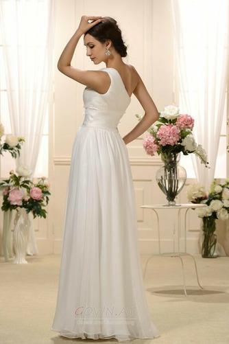 Natürliche Taille Eine Schulter Gefaltete Mieder Drapiert Brautkleid - Seite 2