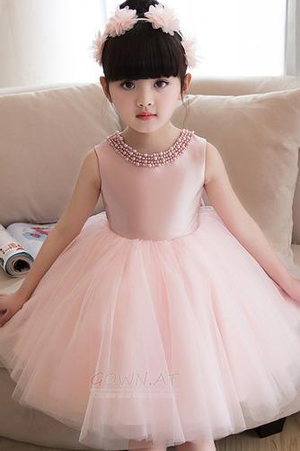 A Linie Tüll Juwel Reißverschluss Natürliche Taille Kleine Mädchen Kleid - Seite 3