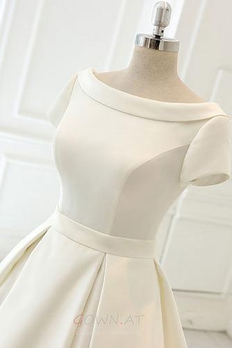 Satiniert Rückenfrei Drapiert Draussen Trichter Hochzeitskleid - Seite 4