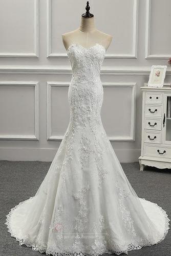 Ärmellos Schatz Lange Schöne Fest Drapiert Natürliche Taille Hochzeitskleid - Seite 1