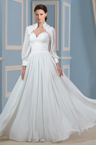 Lange Ärmel Draussen Natürliche Taille Spitzenbesatz Brautkleid - Seite 1