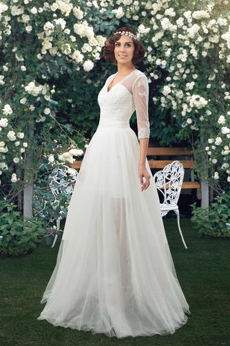 Natürliche Taille Fegen zug V-Ausschnitt Elegante Winter Brautkleid - Seite 4