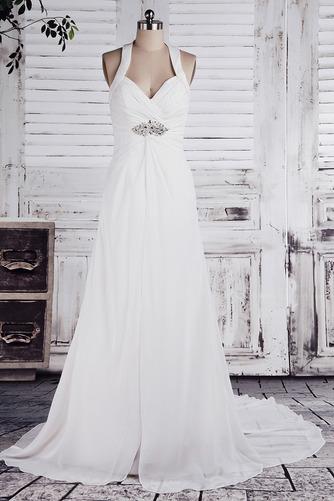 Chiffon Weiß A Linie Dünn Weiß Lehnenlose Klassische Brautkleid - Seite 1