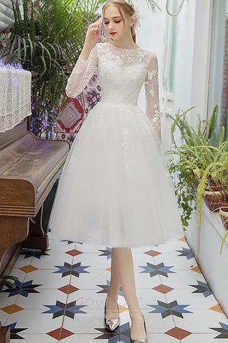 Juwel Lange Ärmel Mehrschichtig Tüll Illusionshülsen Brautkleid - Seite 1