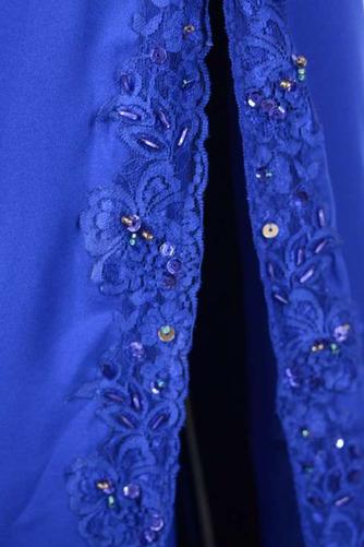 V-Ausschnitt Natürliche Taille Übergröße Perlengürtel Blaue Abendkleid - Seite 5