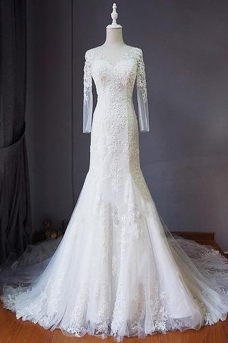 Strand Schnüren Juwel Spitzenbesatz Lange Ärmel Hochzeitskleid - Seite 1
