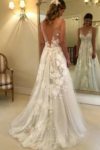 Appliques V-Ausschnitt Frenal Ärmellos Natürliche Taille Hochzeitskleid - Seite 4