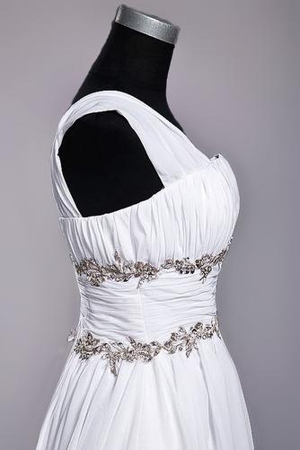 Bodenlänge A Linie Perlengürtel Chiffon Draussen Weiß Brautkleid - Seite 6