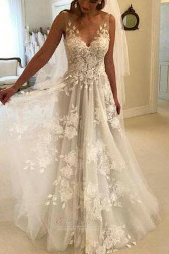 Appliques V-Ausschnitt Frenal Ärmellos Natürliche Taille Hochzeitskleid - Seite 2