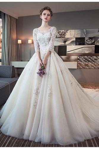 3/4 Länge Ärmel Zurückhaltend Illusionshülsen Hochzeitskleid - Seite 1