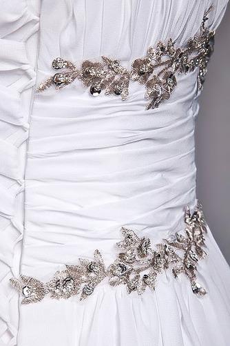 Bodenlänge A Linie Perlengürtel Chiffon Draussen Weiß Brautkleid - Seite 8