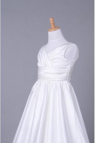 Fallen Lange V-Ausschnitt Satiniert Gerafft Kleine Mädchen Kleid - Seite 5