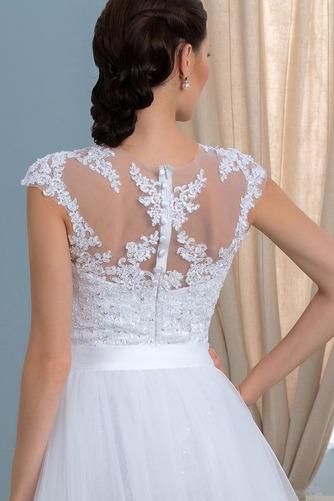 Vorderer Schlitz Satiniert Sommer Brautkleid mit kurzen Ärmeln - Seite 5