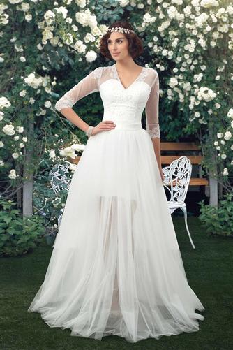 Natürliche Taille Fegen zug V-Ausschnitt Elegante Winter Brautkleid - Seite 1