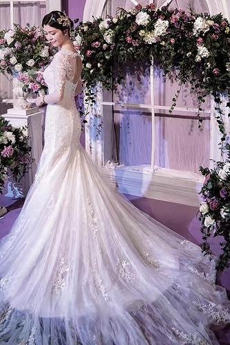 Strand Schnüren Juwel Spitzenbesatz Lange Ärmel Hochzeitskleid - Seite 3