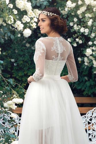 Natürliche Taille Fegen zug V-Ausschnitt Elegante Winter Brautkleid - Seite 5