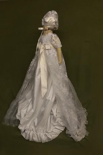 Spitze Hoch bedeckt Illusionshülsen Lange Blumenmädchen kleid - Seite 2