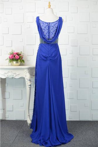 V-Ausschnitt Natürliche Taille Übergröße Perlengürtel Blaue Abendkleid - Seite 3