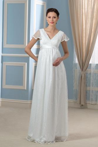 Elegante Reißverschluss Fegen zug Brautkleid mit kurzen Ärmeln - Seite 1