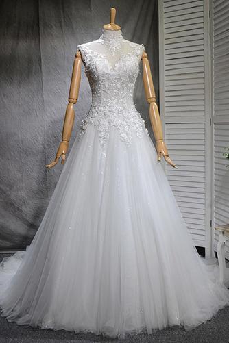 Klassisch Natürliche Taille Spitze Mehrschichtig Draussen Brautkleid - Seite 1
