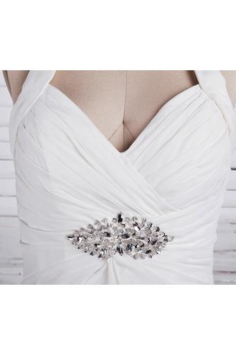 Chiffon Weiß A Linie Dünn Weiß Lehnenlose Klassische Brautkleid - Seite 4
