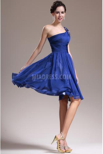 Eine Schulter Ärmellos Knielänge Mitte zurück Brautjungfernkleid - Seite 4