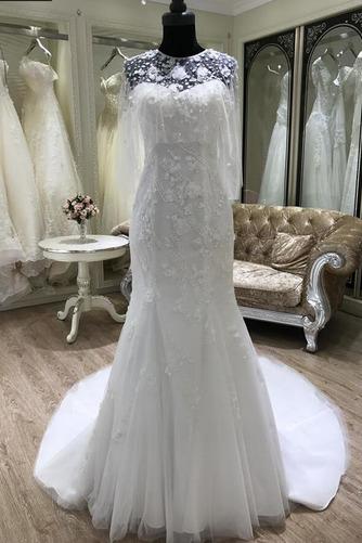 Ärmellos Halle Trichter Fiel Taille Appliques Klassische Brautkleid - Seite 1