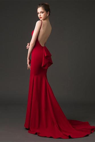 Breit flach Trichter Fegen zug Natürliche Taille Sexy Abendkleid - Seite 4