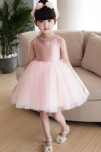 A Linie Tüll Juwel Reißverschluss Natürliche Taille Kleine Mädchen Kleid - Seite 1
