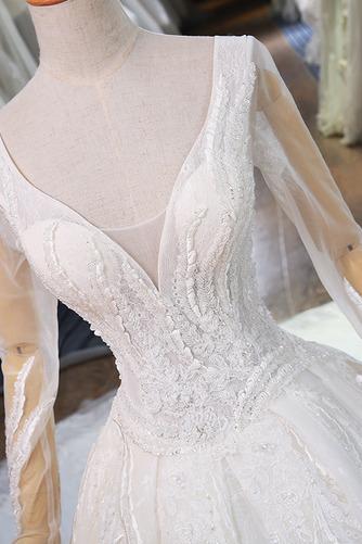 Königlicher Zug Natürliche Taille Trichter Klassische Brautkleid - Seite 4