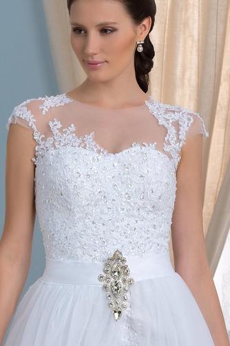 Vorderer Schlitz Satiniert Sommer Brautkleid mit kurzen Ärmeln - Seite 4