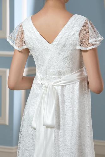 Elegante Reißverschluss Fegen zug Brautkleid mit kurzen Ärmeln - Seite 4