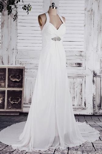 Chiffon Weiß A Linie Dünn Weiß Lehnenlose Klassische Brautkleid - Seite 2