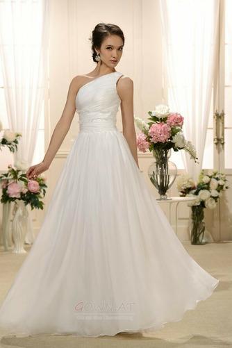 Natürliche Taille Eine Schulter Gefaltete Mieder Drapiert Brautkleid - Seite 1