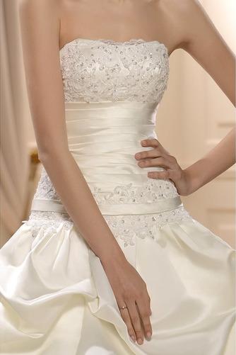 Frühling Ärmellos Spitzenüberlagerung Lange Natürliche Taille Hochzeitskleid - Seite 4