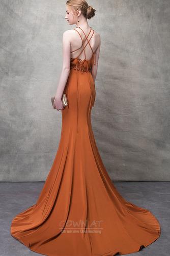 Ärmellos Lange Natürliche Taille Sommer Drapiert Juwel Abendkleid - Seite 4