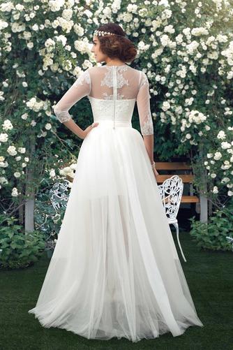 Natürliche Taille Fegen zug V-Ausschnitt Elegante Winter Brautkleid - Seite 2
