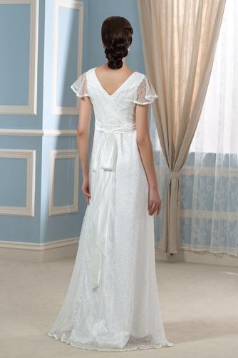 Elegante Reißverschluss Fegen zug Brautkleid mit kurzen Ärmeln - Seite 2