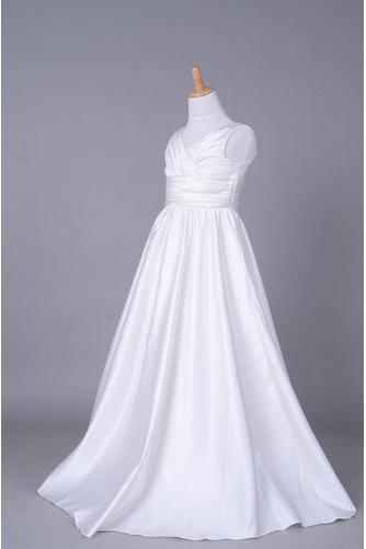 Fallen Lange V-Ausschnitt Satiniert Gerafft Kleine Mädchen Kleid - Seite 2